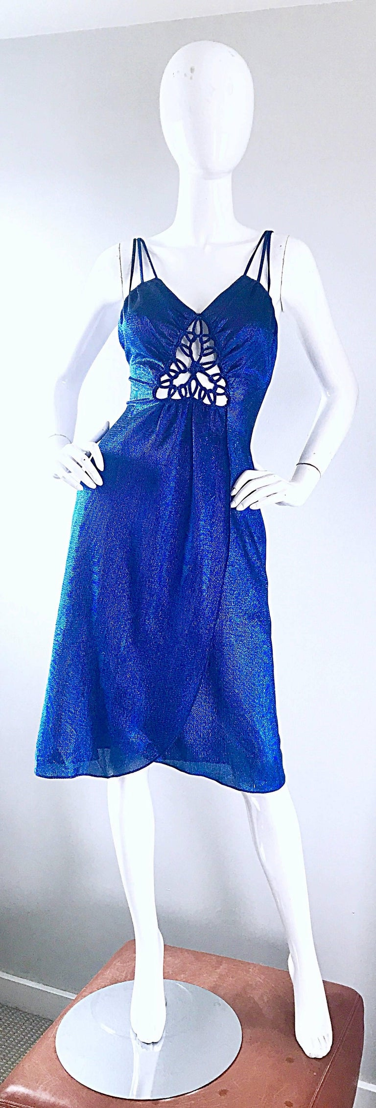 1970s Samir Sexy Electric Blue Metallic Cut - Out Slinky Vintage 70s Disco Dress For Sale 4