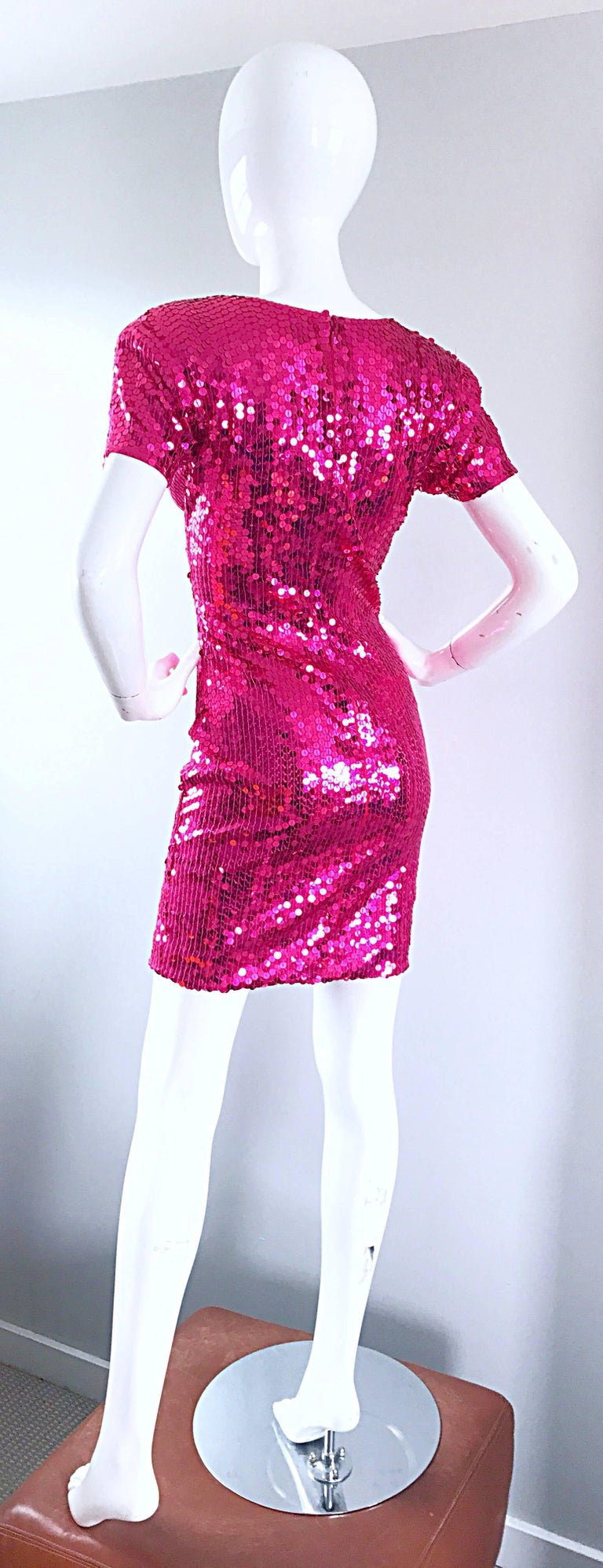68 UK 1990s Confetti Sequin Micro Mini Size 24 US European Vintage Sleeveless Multicolor Rainbow Metallic Bodycon Dress or Top