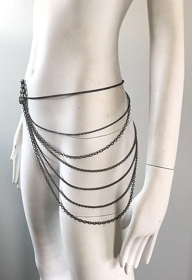 1970s Silver and Gunmetal Rhinestone Multi Strand Asymmetrical 70s Chain Belt 4