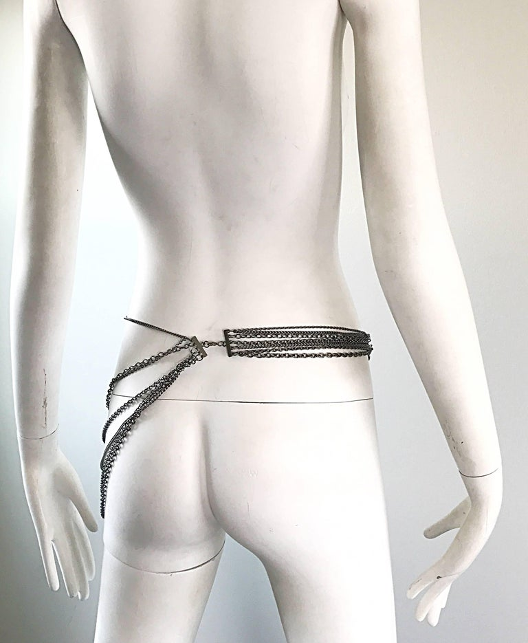 1970s Silver and Gunmetal Rhinestone Multi Strand Asymmetrical 70s Chain Belt 7