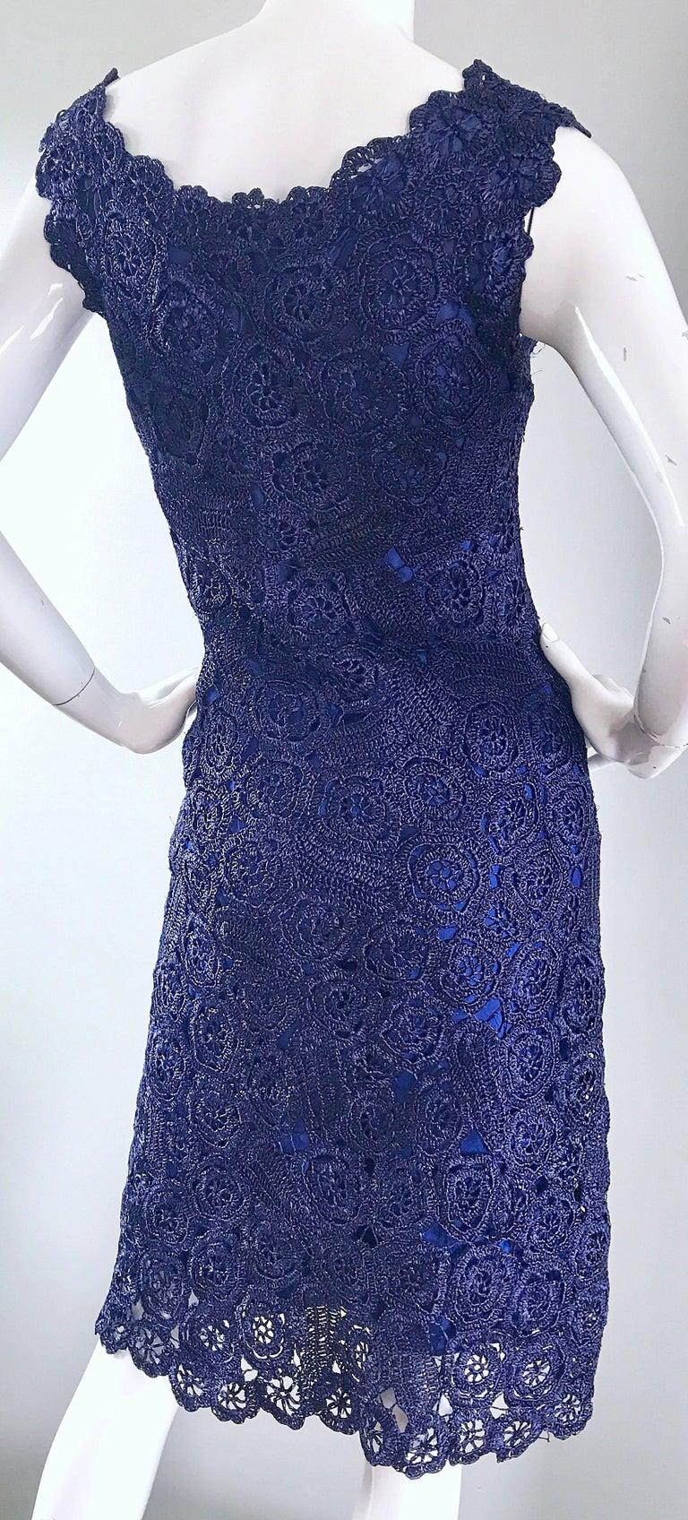 Gorgeous 1950s Demi Couture Navy Blue Raffia Cut - Out Vintage 50s Dress For Sale 1