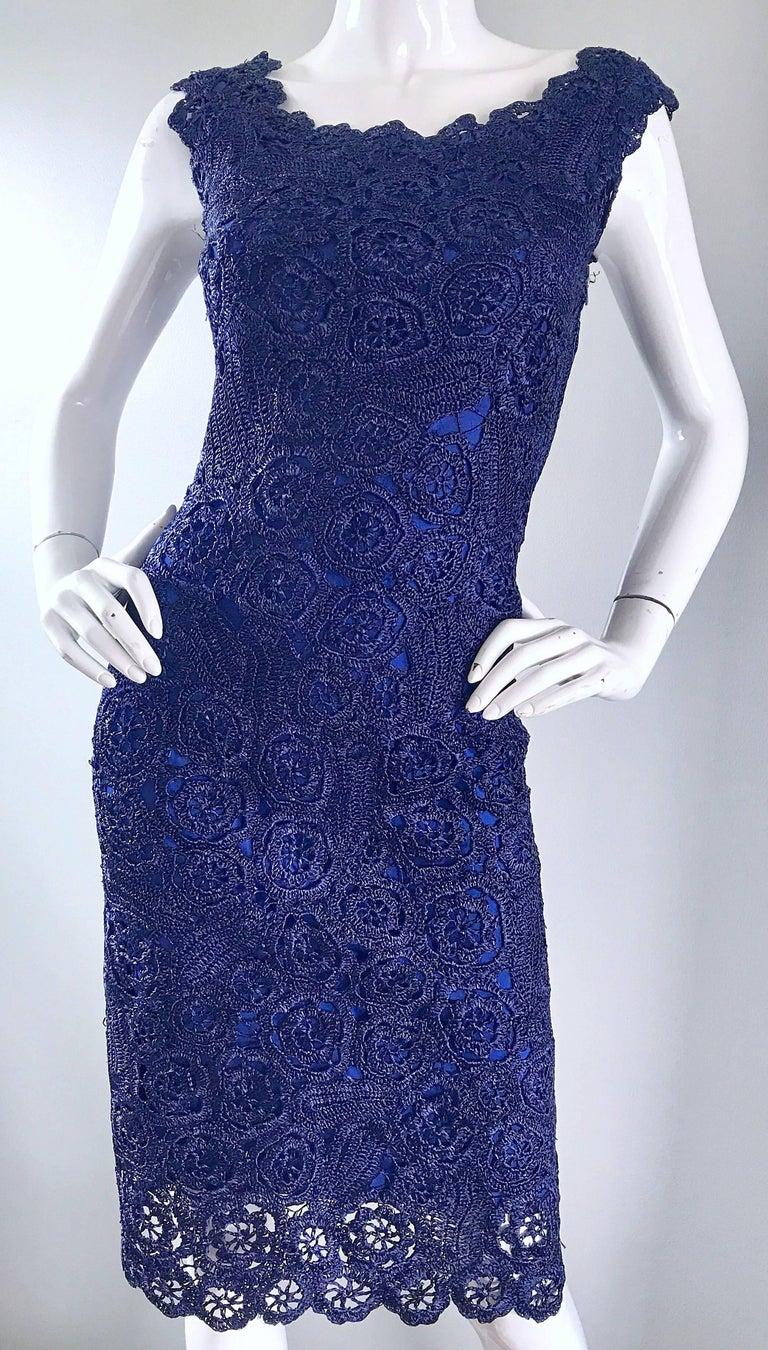 Gorgeous 1950s Demi Couture Navy Blue Raffia Cut - Out Vintage 50s Dress For Sale 2