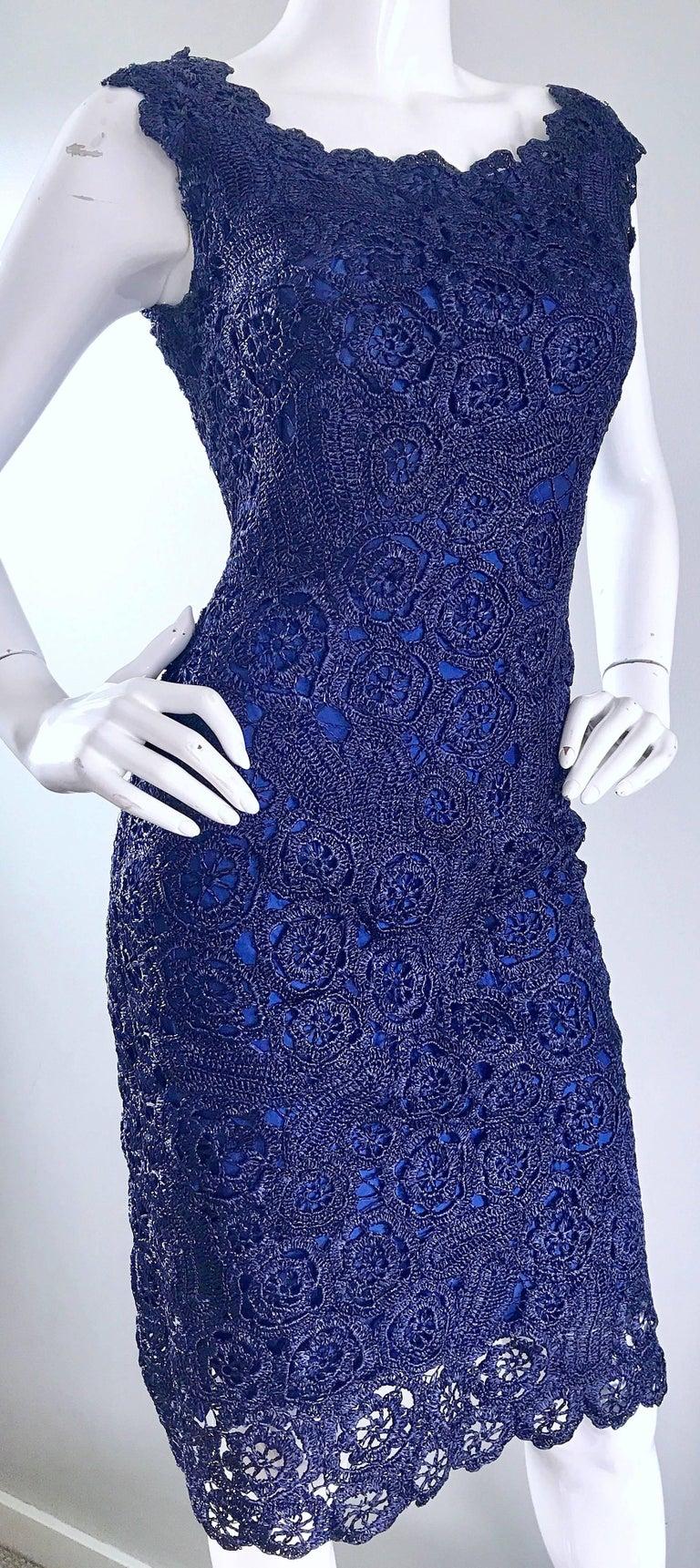 Gorgeous 1950s Demi Couture Navy Blue Raffia Cut - Out Vintage 50s Dress For Sale 4