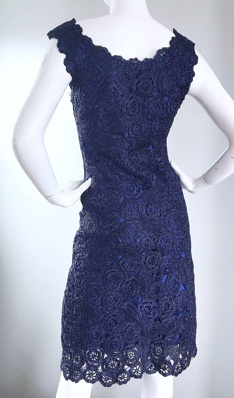 Gorgeous 1950s Demi Couture Navy Blue Raffia Cut - Out Vintage 50s Dress For Sale 5