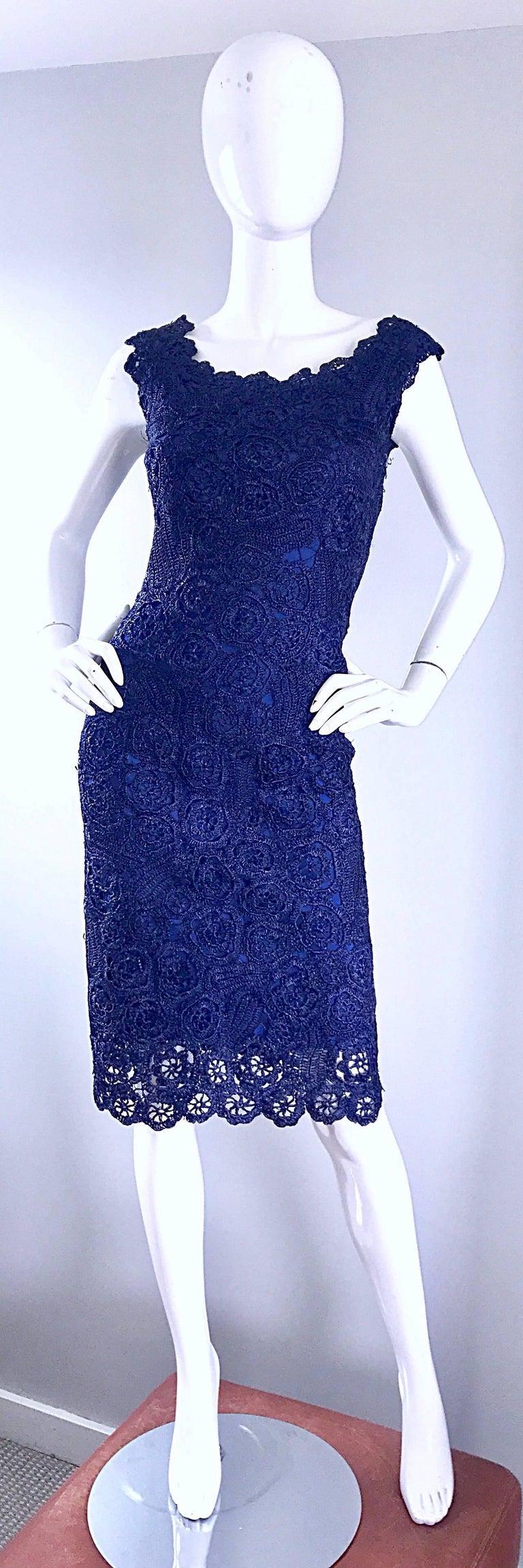 Gorgeous 1950s Demi Couture Navy Blue Raffia Cut - Out Vintage 50s Dress For Sale 6