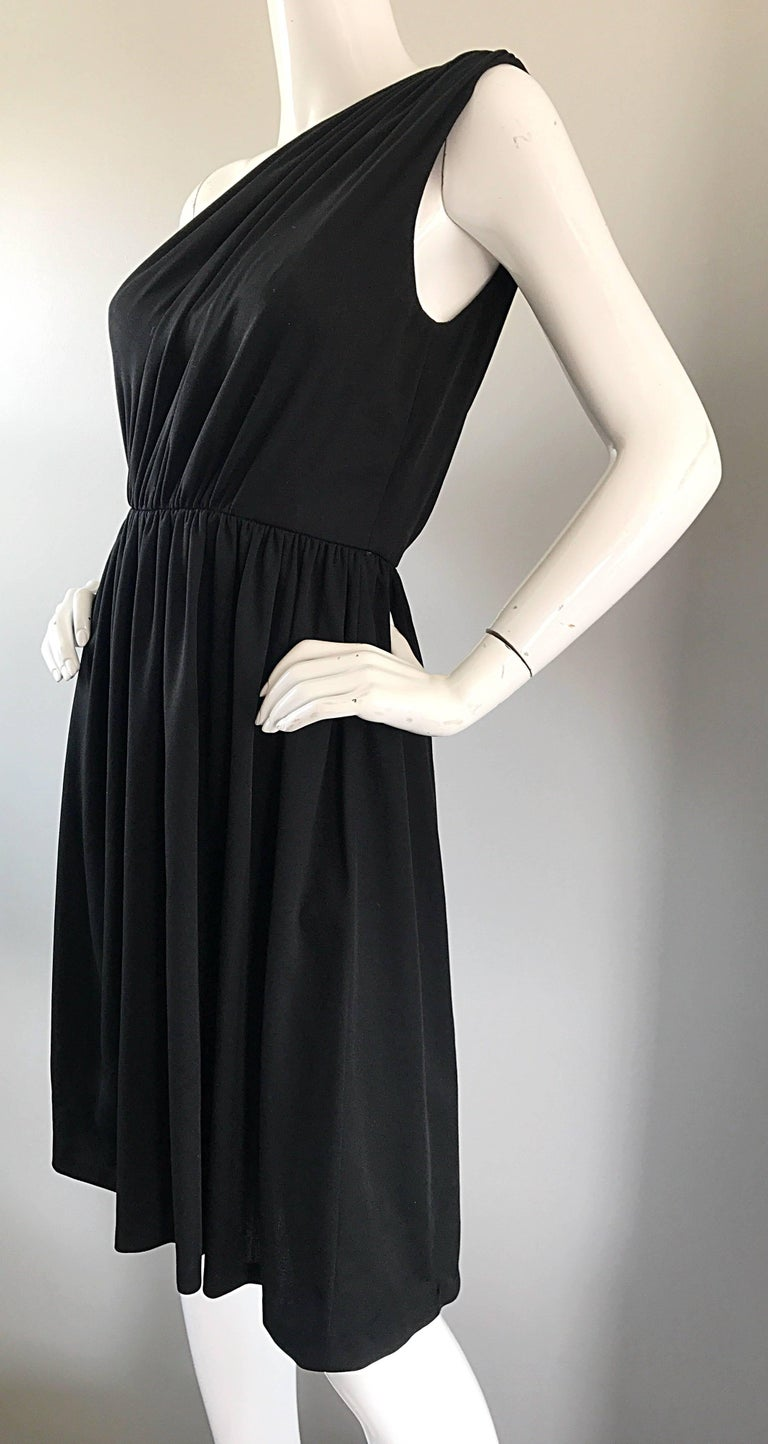 Women's 1970s Anthony Muto for Joseph Magnin Black Jersey One Shoulder 70s Grecian Dress For Sale