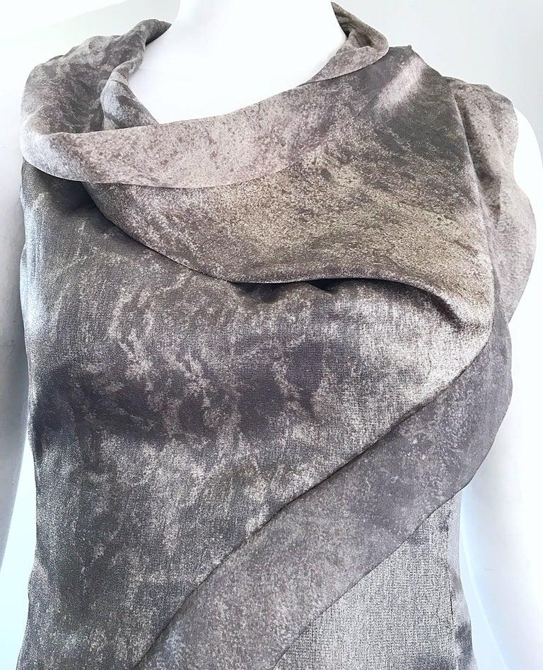 Giorgio Armani 1990s Silver Gunmetal Avant Garde Vintage 90s Silk Blouse Top In Excellent Condition For Sale In San Francisco, CA