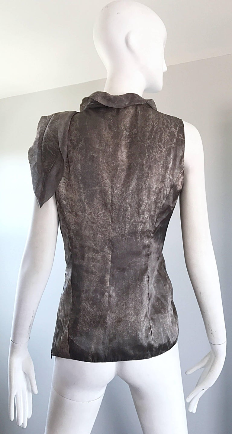 Women's Giorgio Armani 1990s Silver Gunmetal Avant Garde Vintage 90s Silk Blouse Top For Sale