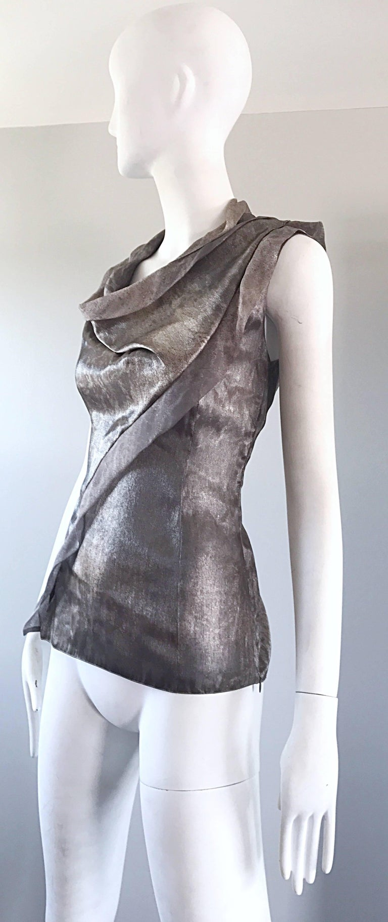 Giorgio Armani 1990s Silver Gunmetal Avant Garde Vintage 90s Silk Blouse Top For Sale 1