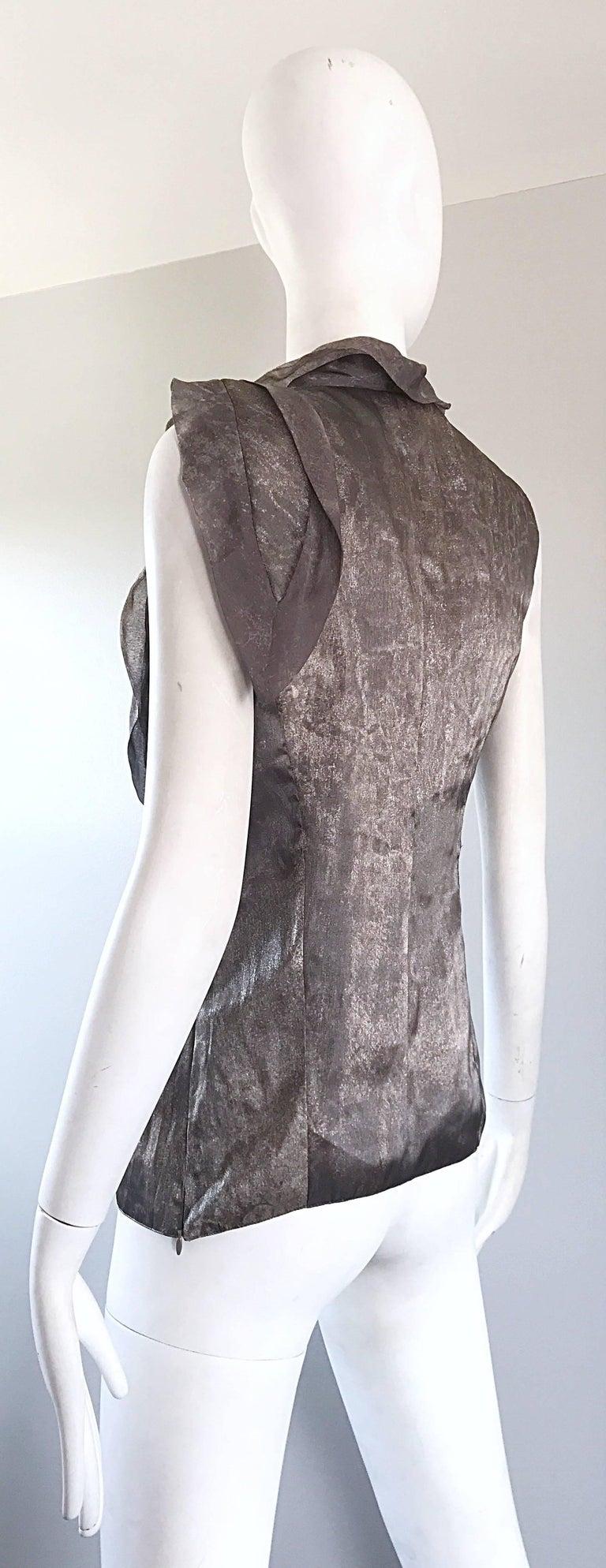 Giorgio Armani 1990s Silver Gunmetal Avant Garde Vintage 90s Silk Blouse Top For Sale 3