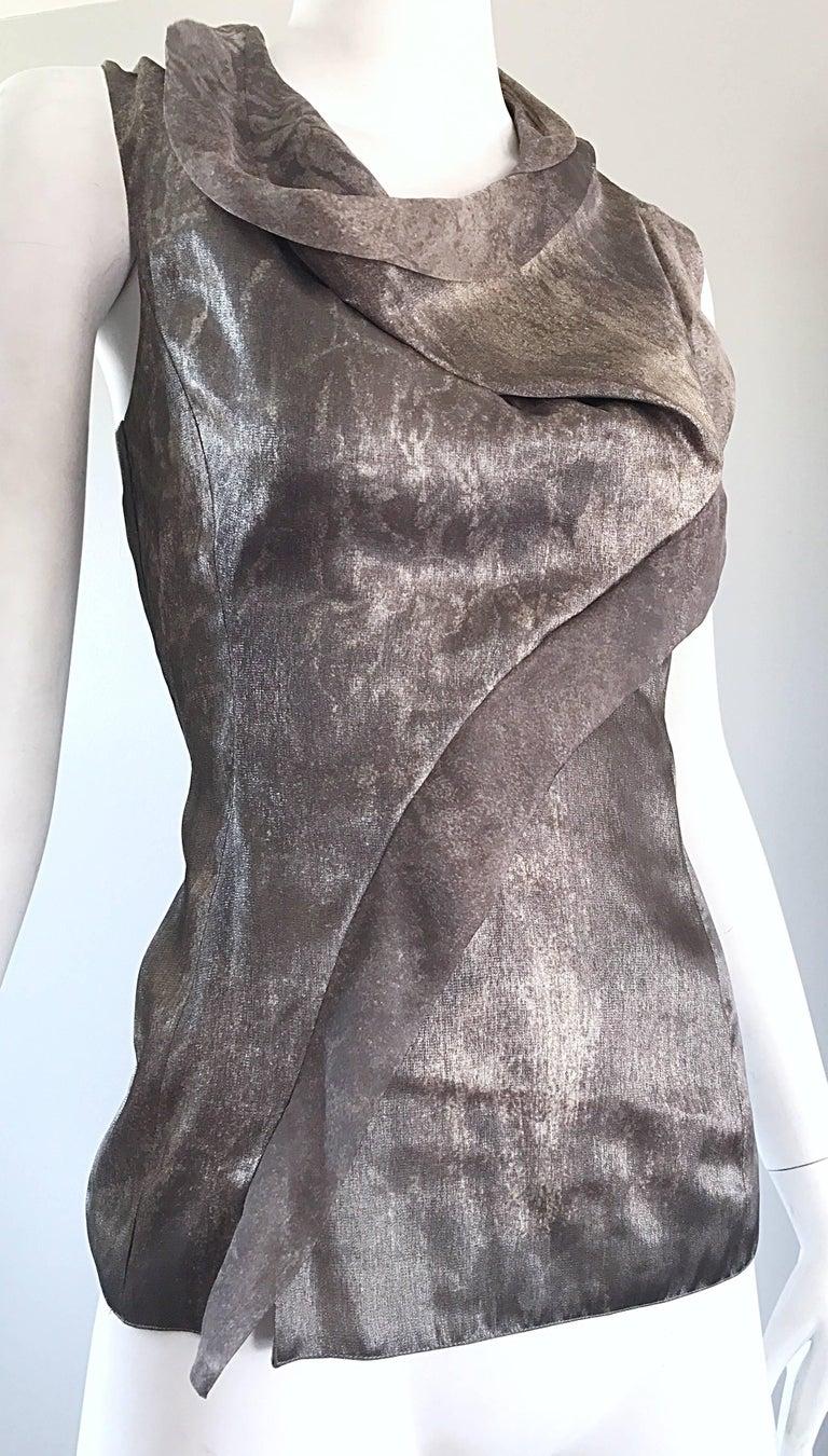 Giorgio Armani 1990s Silver Gunmetal Avant Garde Vintage 90s Silk Blouse Top For Sale 4
