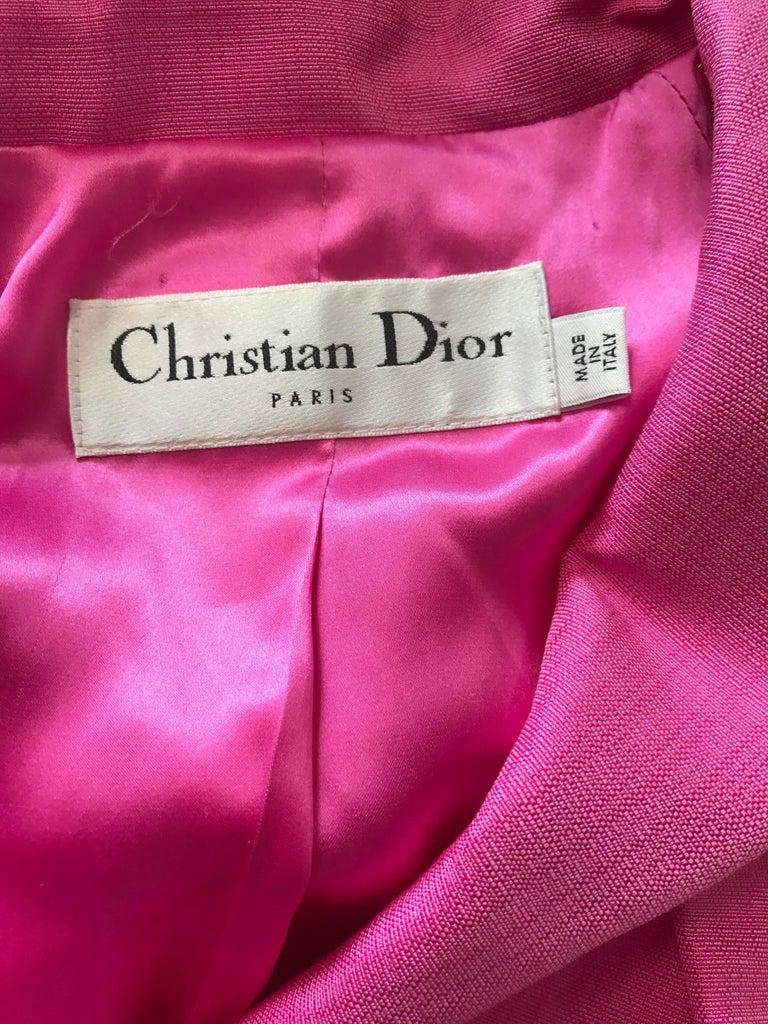 Christian Dior von John Galliano Bubblegum Rosa Seiden Größe 10 Jacke mit Gürtel 10