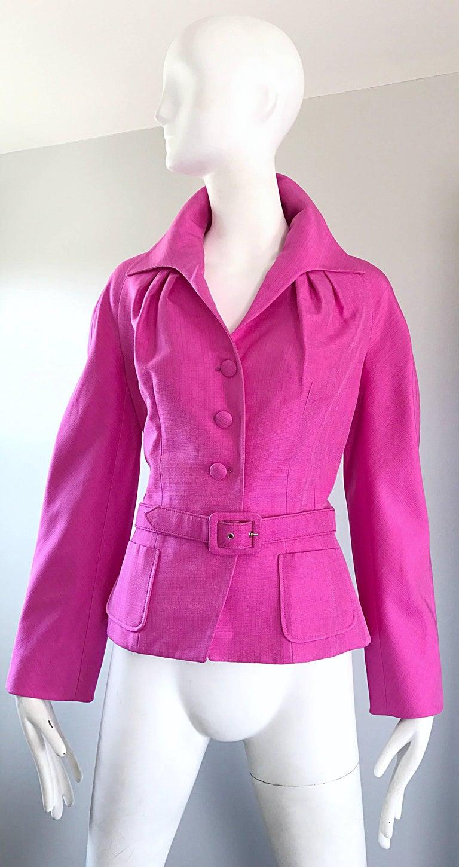 Christian Dior von John Galliano Bubblegum Rosa Seiden Größe 10 Jacke mit Gürtel 2