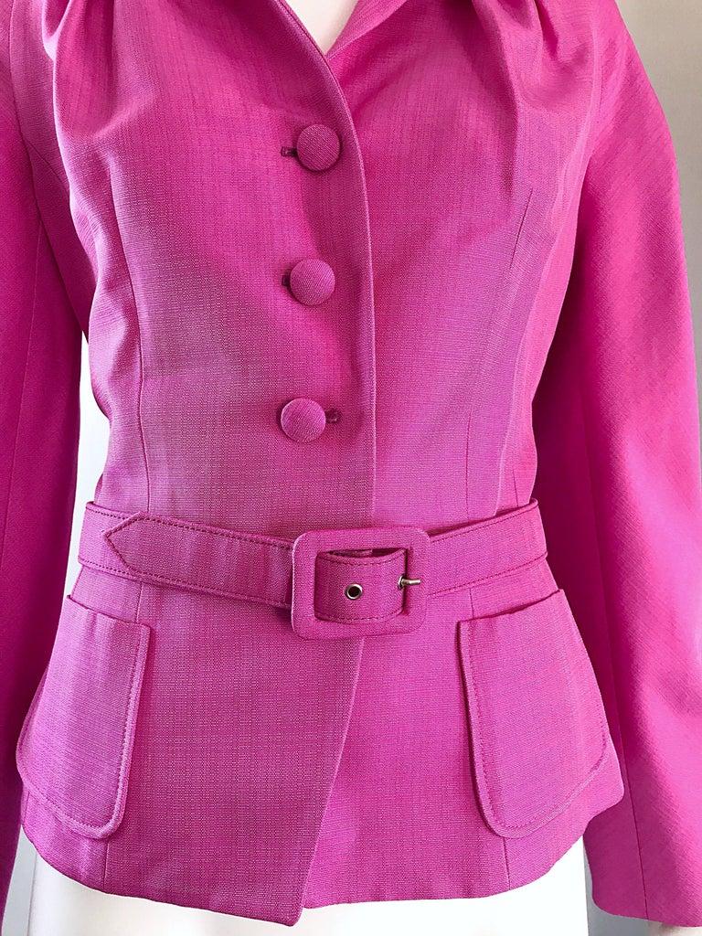 Christian Dior von John Galliano Bubblegum Rosa Seiden Größe 10 Jacke mit Gürtel 4