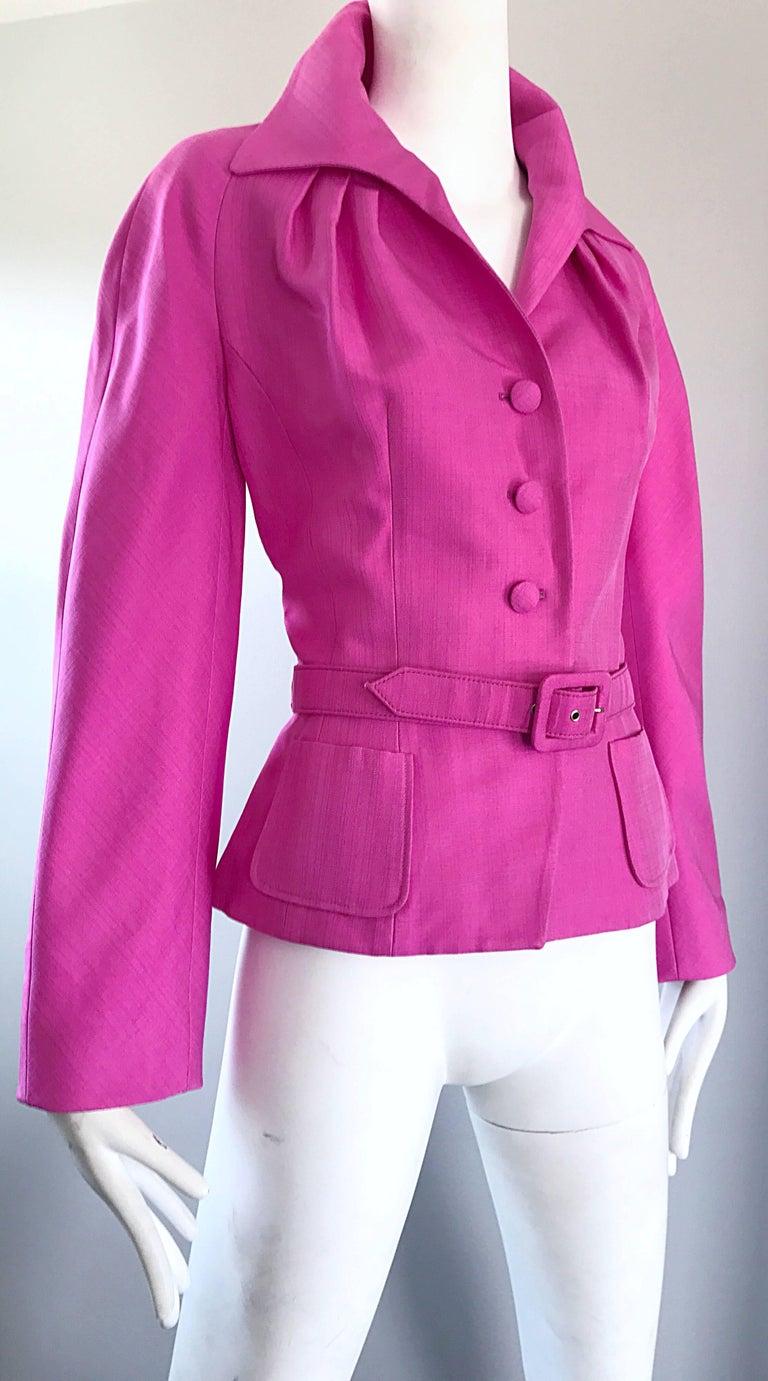 Christian Dior von John Galliano Bubblegum Rosa Seiden Größe 10 Jacke mit Gürtel 5