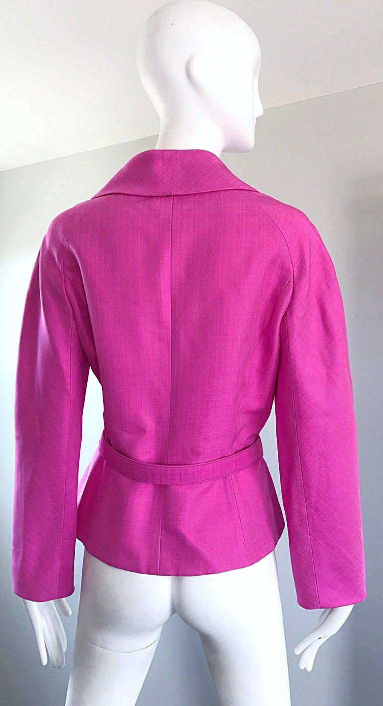 Christian Dior von John Galliano Bubblegum Rosa Seiden Größe 10 Jacke mit Gürtel 7