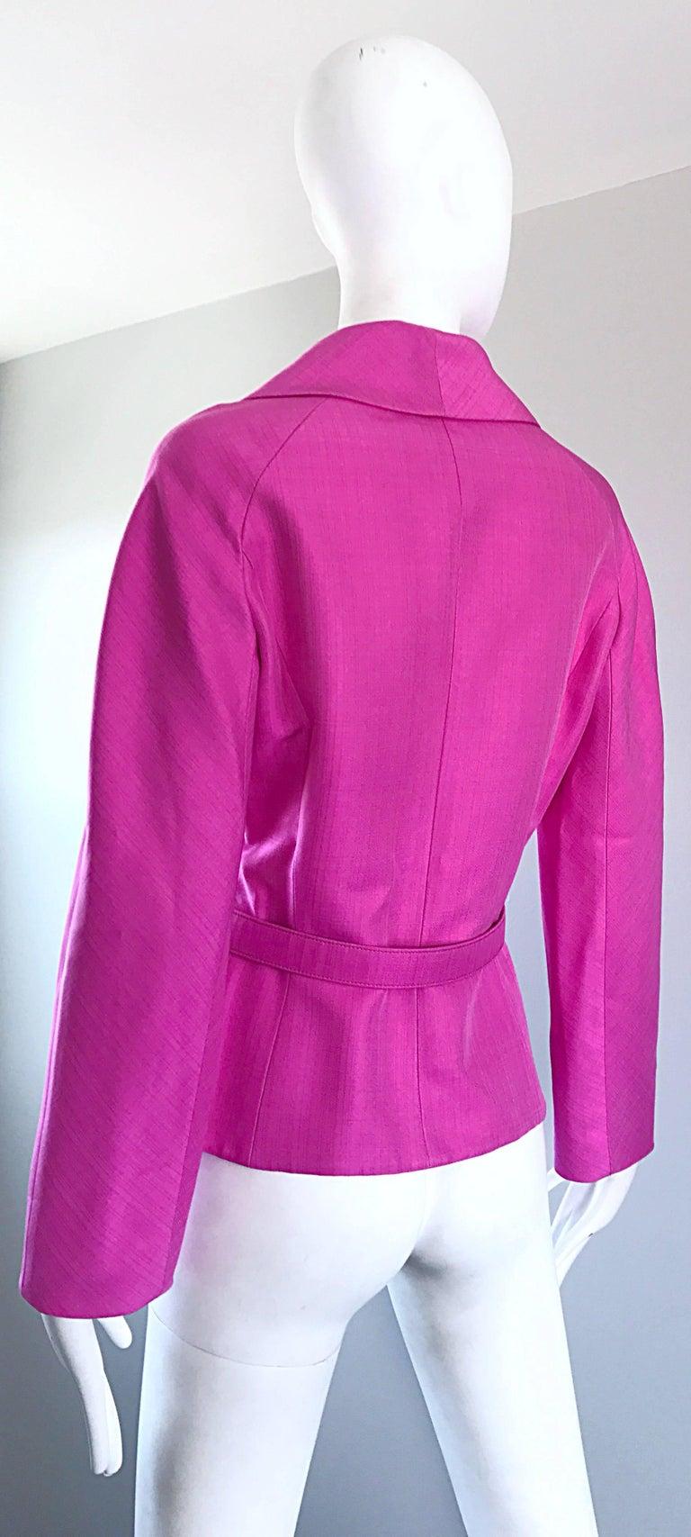 Christian Dior von John Galliano Bubblegum Rosa Seiden Größe 10 Jacke mit Gürtel 8