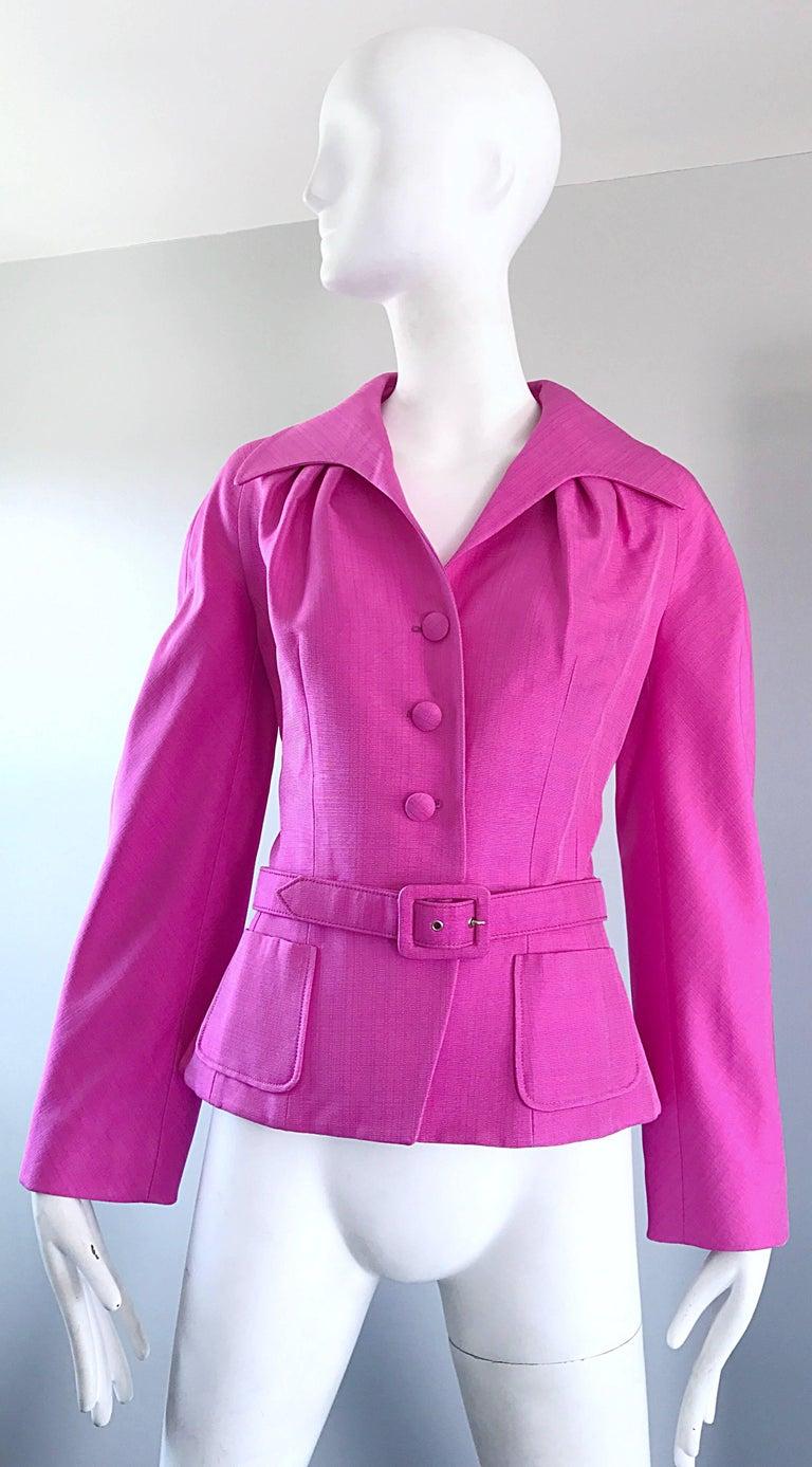 Christian Dior von John Galliano Bubblegum Rosa Seiden Größe 10 Jacke mit Gürtel 9