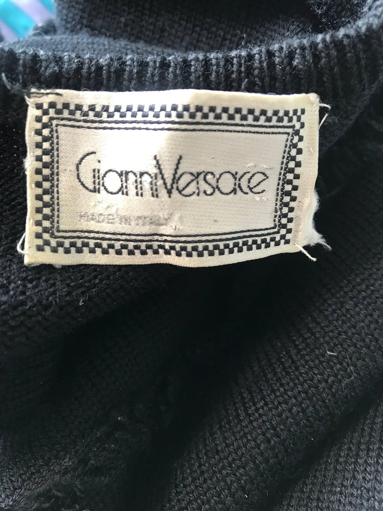 Early Gianni Versace 1980s Sexy Black Fringe 80s Vintage Cotton Sweater Crop Top For Sale 6
