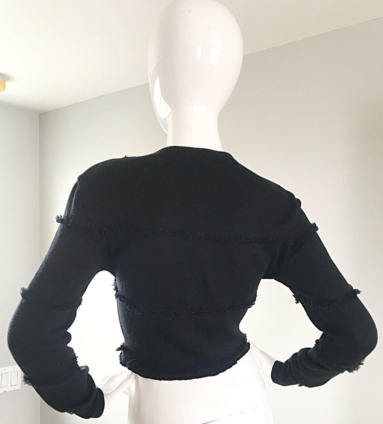Early Gianni Versace 1980s Sexy Black Fringe 80s Vintage Cotton Sweater Crop Top For Sale 1