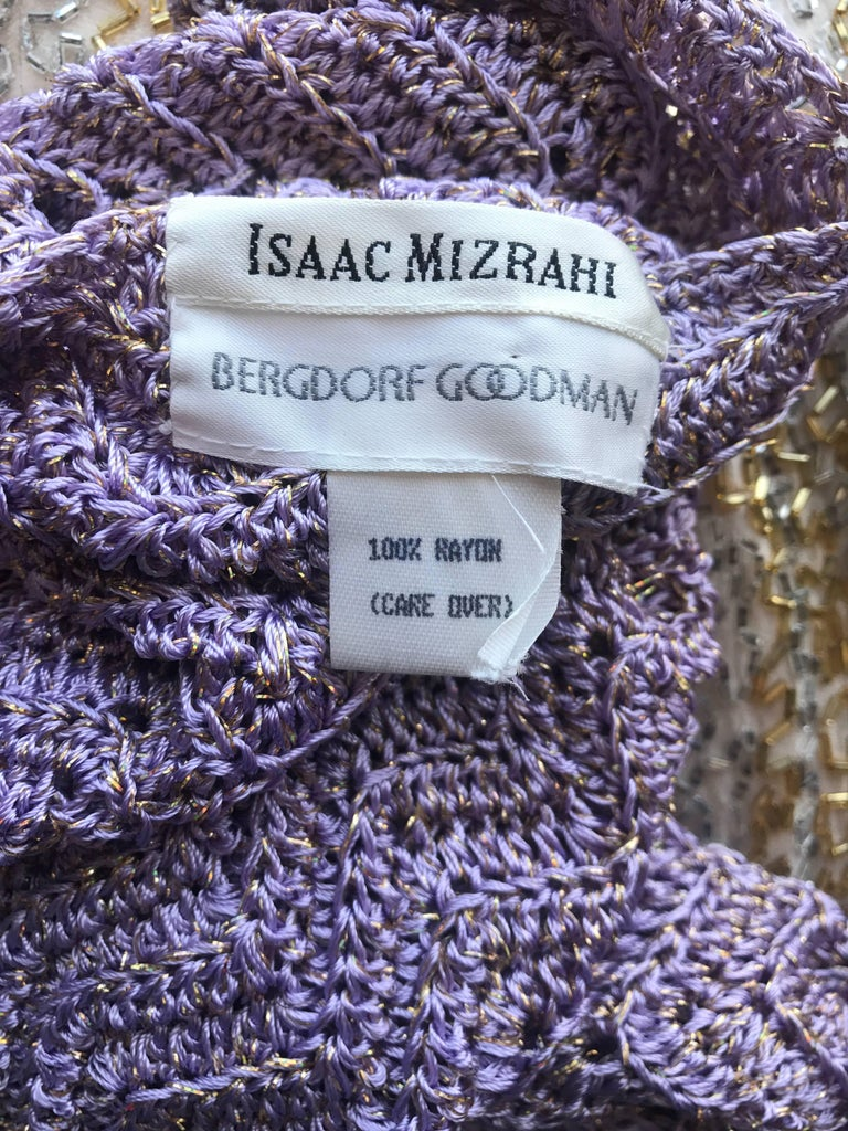 Vintage Isaac Mizrahi Bergdorf Goodman 1990s Purple + Gold Crochet Mini Dress  For Sale 6
