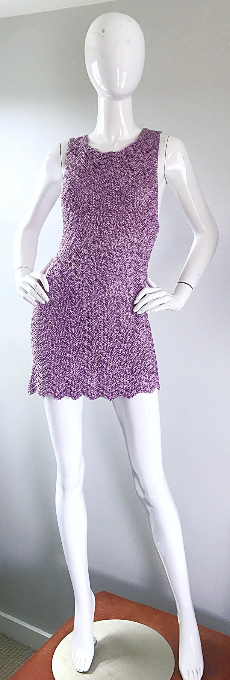 Sexy 90s ISAAC MIZRAHI for BERGDORF GOODMAN light purple lavender and gold crochet mini dress! Features a seductive low cut sleeve. Simple slips over to head. Hand crochet rayon features gold silk thread intertwined throughout, and is super soft