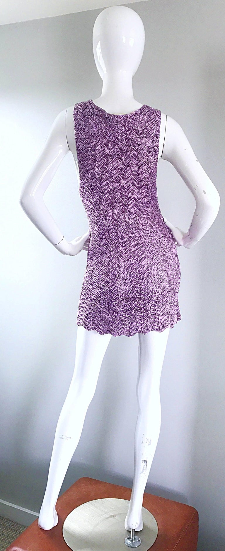 Women's Vintage Isaac Mizrahi Bergdorf Goodman 1990s Purple + Gold Crochet Mini Dress  For Sale