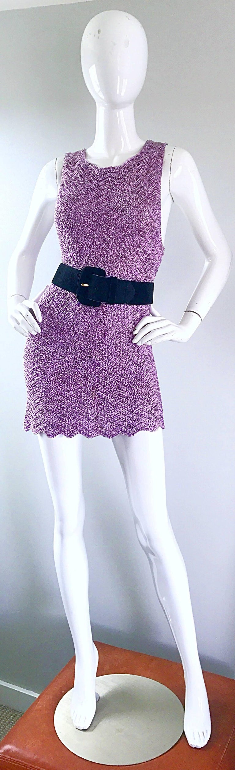 Vintage Isaac Mizrahi Bergdorf Goodman 1990s Purple + Gold Crochet Mini Dress  For Sale 1