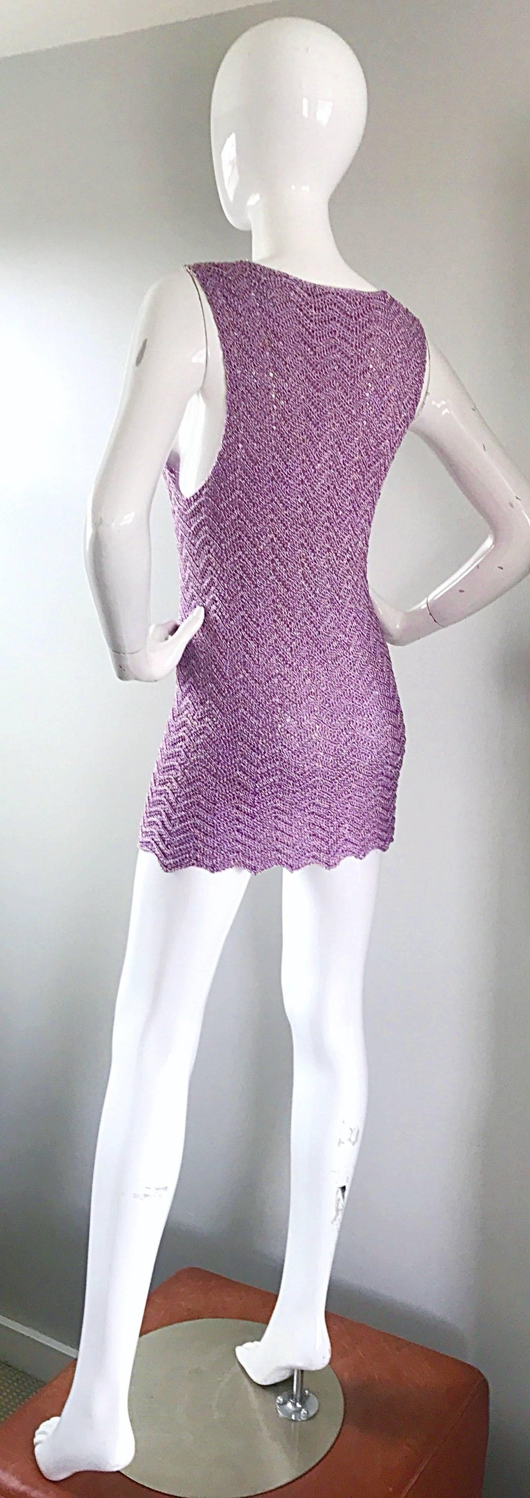 Vintage Isaac Mizrahi Bergdorf Goodman 1990s Purple + Gold Crochet Mini Dress  For Sale 3