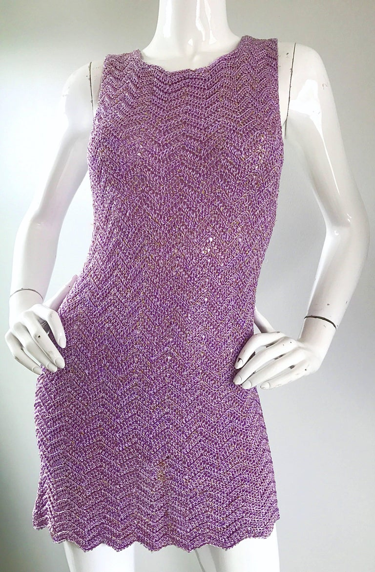 Vintage Isaac Mizrahi Bergdorf Goodman 1990s Purple + Gold Crochet Mini Dress  For Sale 4