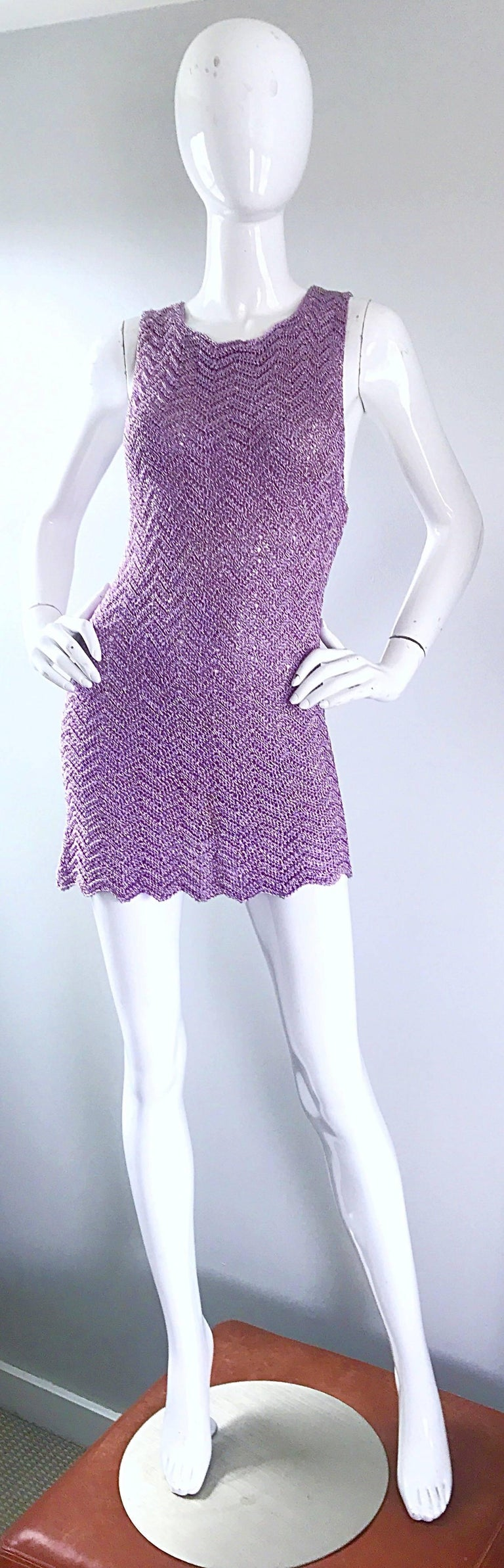 Vintage Isaac Mizrahi Bergdorf Goodman 1990s Purple + Gold Crochet Mini Dress  For Sale 5