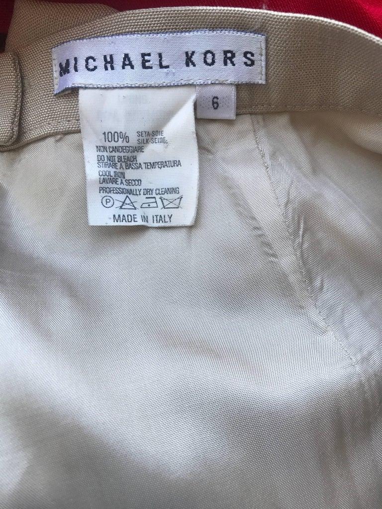 Vintage Michael Kors Collection 1990s Khaki Silk Cropped Capri Pants Shorts Sz 6 10