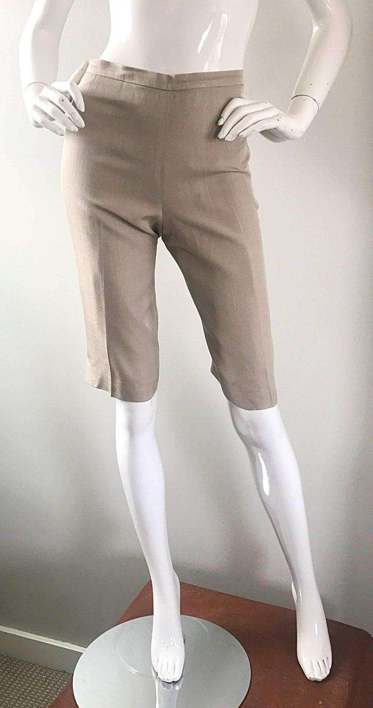 Vintage Michael Kors Collection 1990s Khaki Silk Cropped Capri Pants Shorts Sz 6 2