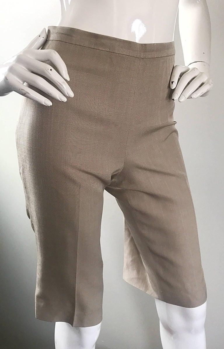 Vintage Michael Kors Collection 1990s Khaki Silk Cropped Capri Pants Shorts Sz 6 3