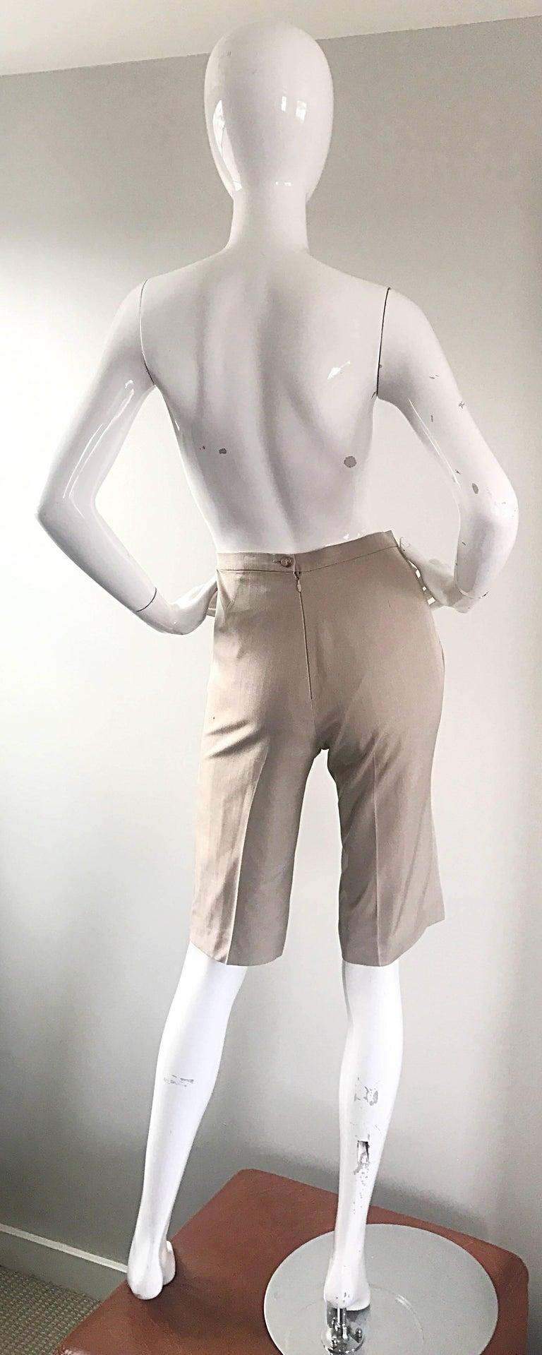 Vintage Michael Kors Collection 1990s Khaki Silk Cropped Capri Pants Shorts Sz 6 4