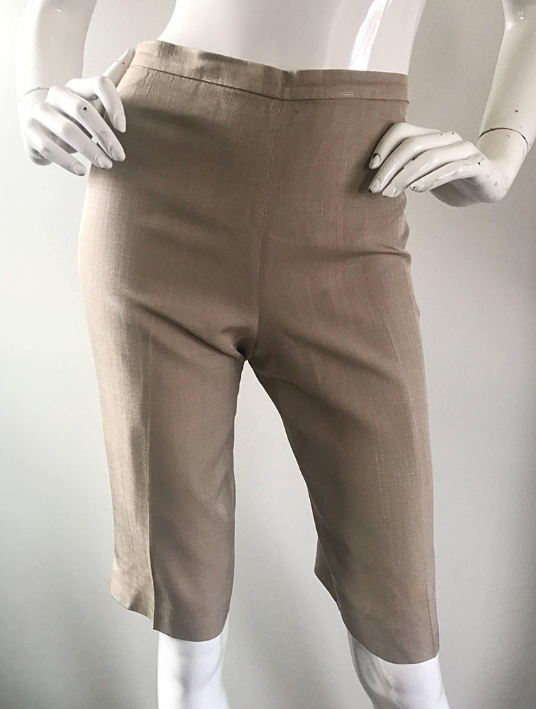 Vintage Michael Kors Collection 1990s Khaki Silk Cropped Capri Pants Shorts Sz 6 5