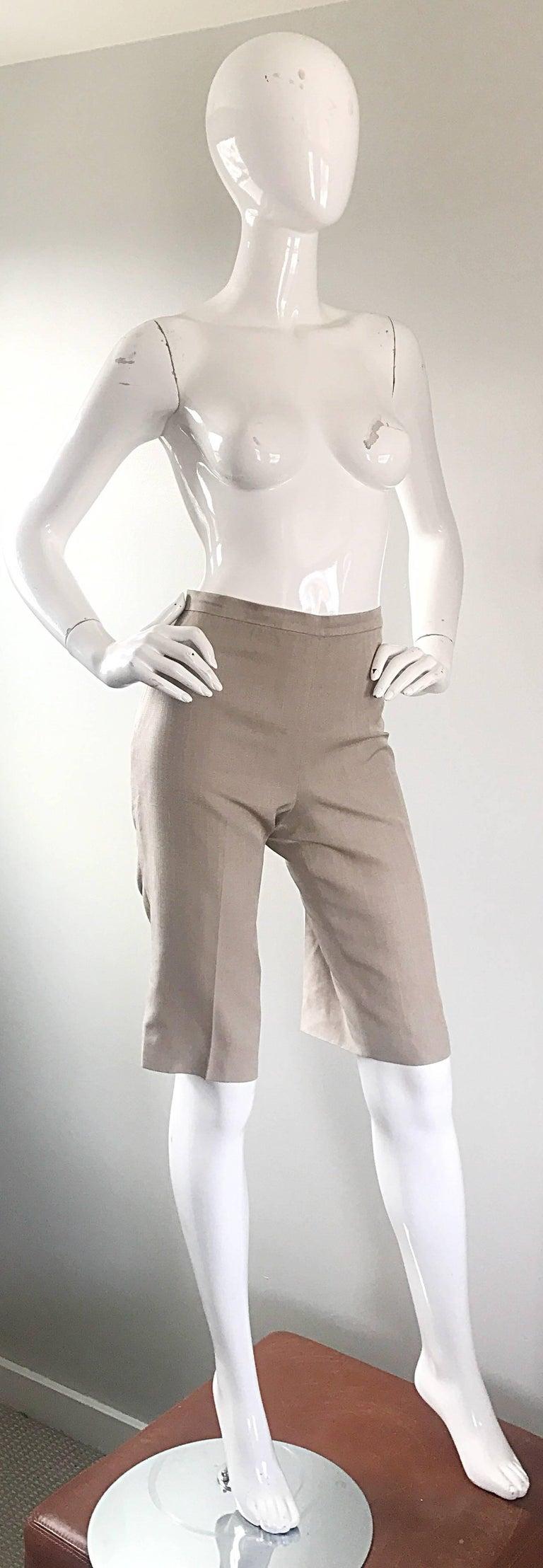 Vintage Michael Kors Collection 1990s Khaki Silk Cropped Capri Pants Shorts Sz 6 6
