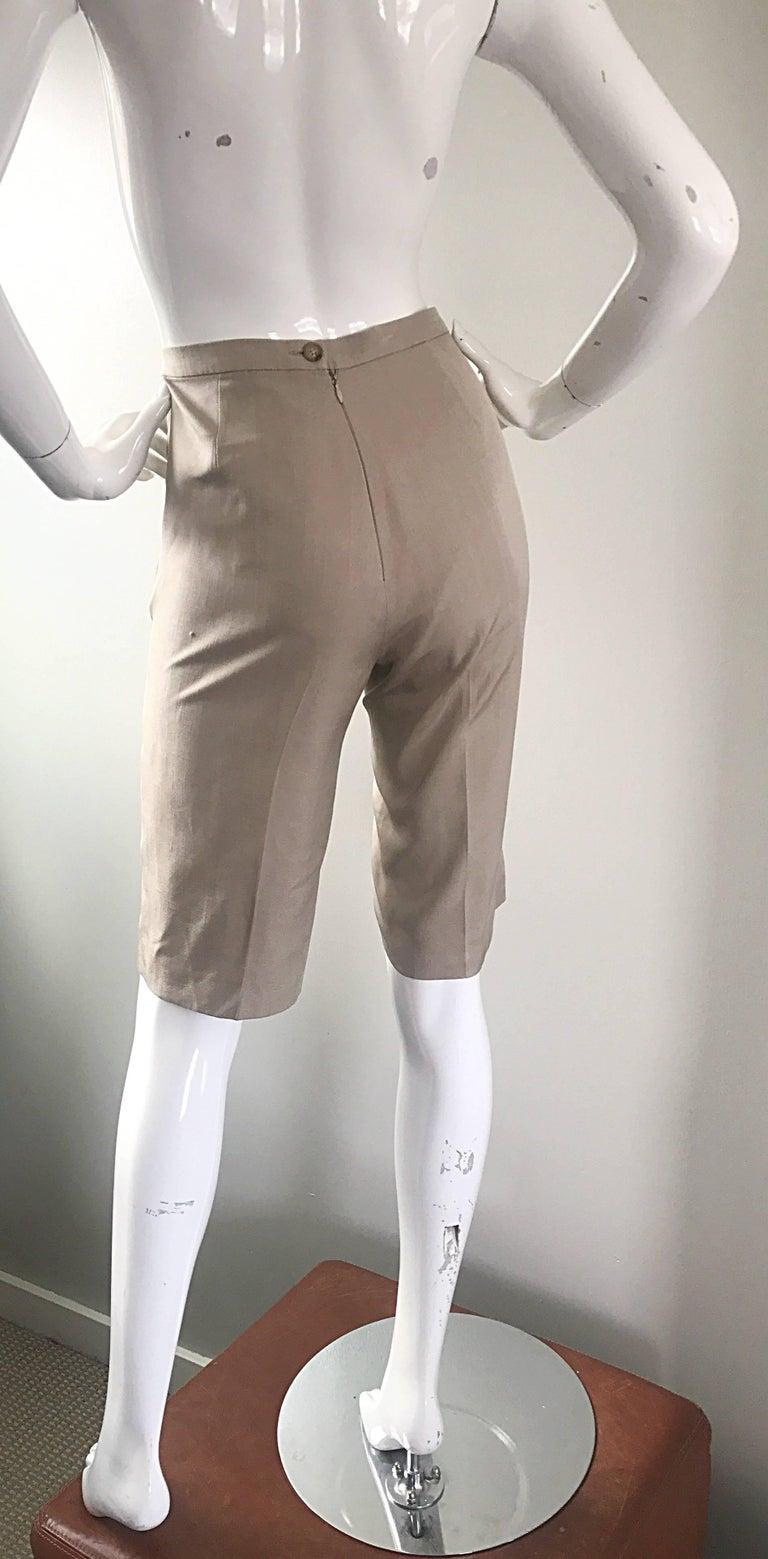 Vintage Michael Kors Collection 1990s Khaki Silk Cropped Capri Pants Shorts Sz 6 7