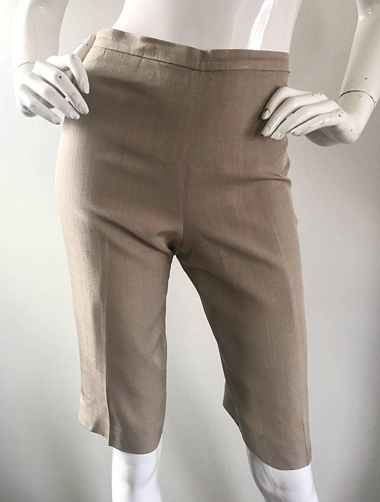 Vintage Michael Kors Collection 1990s Khaki Silk Cropped Capri Pants Shorts Sz 6 8