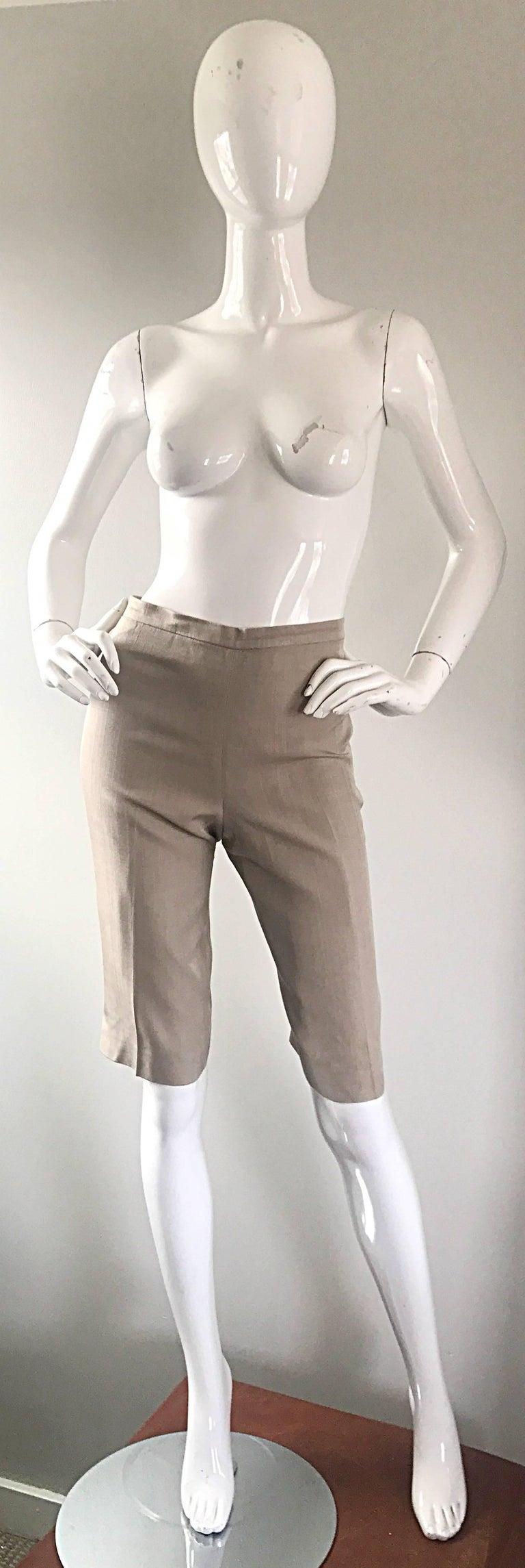 Vintage Michael Kors Collection 1990s Khaki Silk Cropped Capri Pants Shorts Sz 6 9