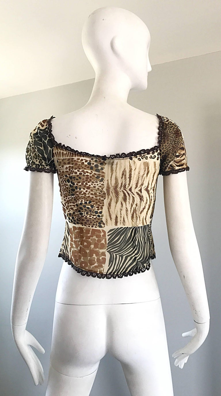 1990s Moschino Cheap & Chic Animal Print Vintage 90s Silk Short Sleeve Crop Top  In Excellent Condition For Sale In San Francisco, CA