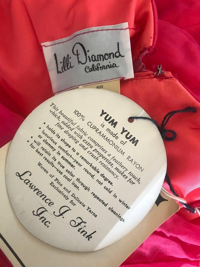 1960s Lilli Diamond Deadstock Hot Pink Fuchsia Vintage 60s A Line Chiffon Dress For Sale 6