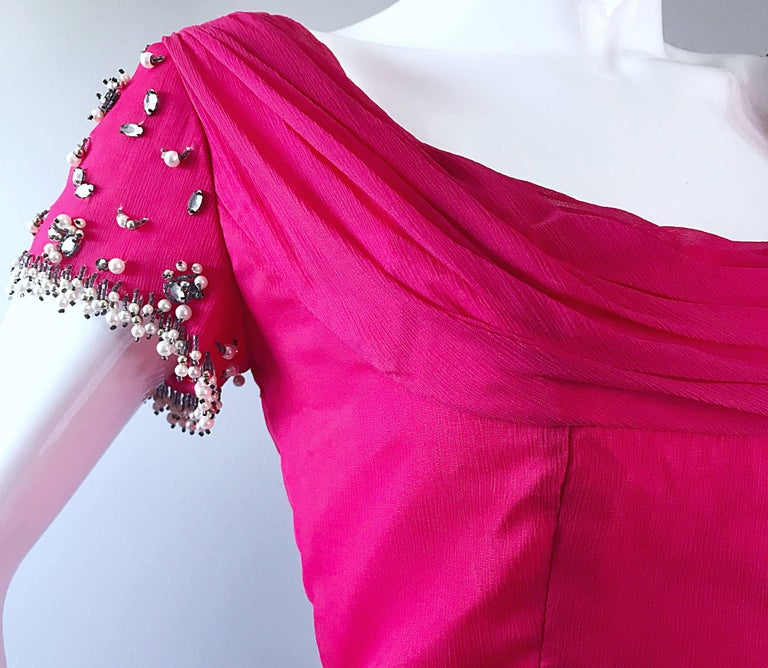 Women's 1960s Lilli Diamond Deadstock Hot Pink Fuchsia Vintage 60s A Line Chiffon Dress For Sale