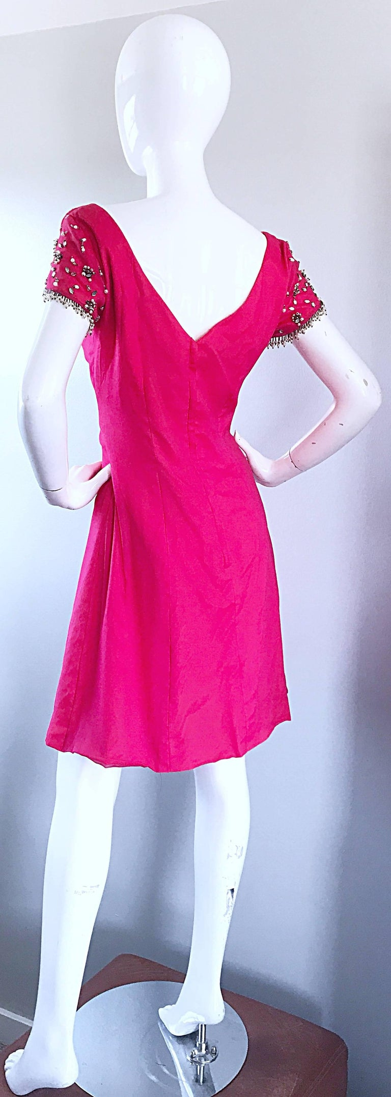 1960s Lilli Diamond Deadstock Hot Pink Fuchsia Vintage 60s A Line Chiffon Dress In New Condition For Sale In Chicago, IL