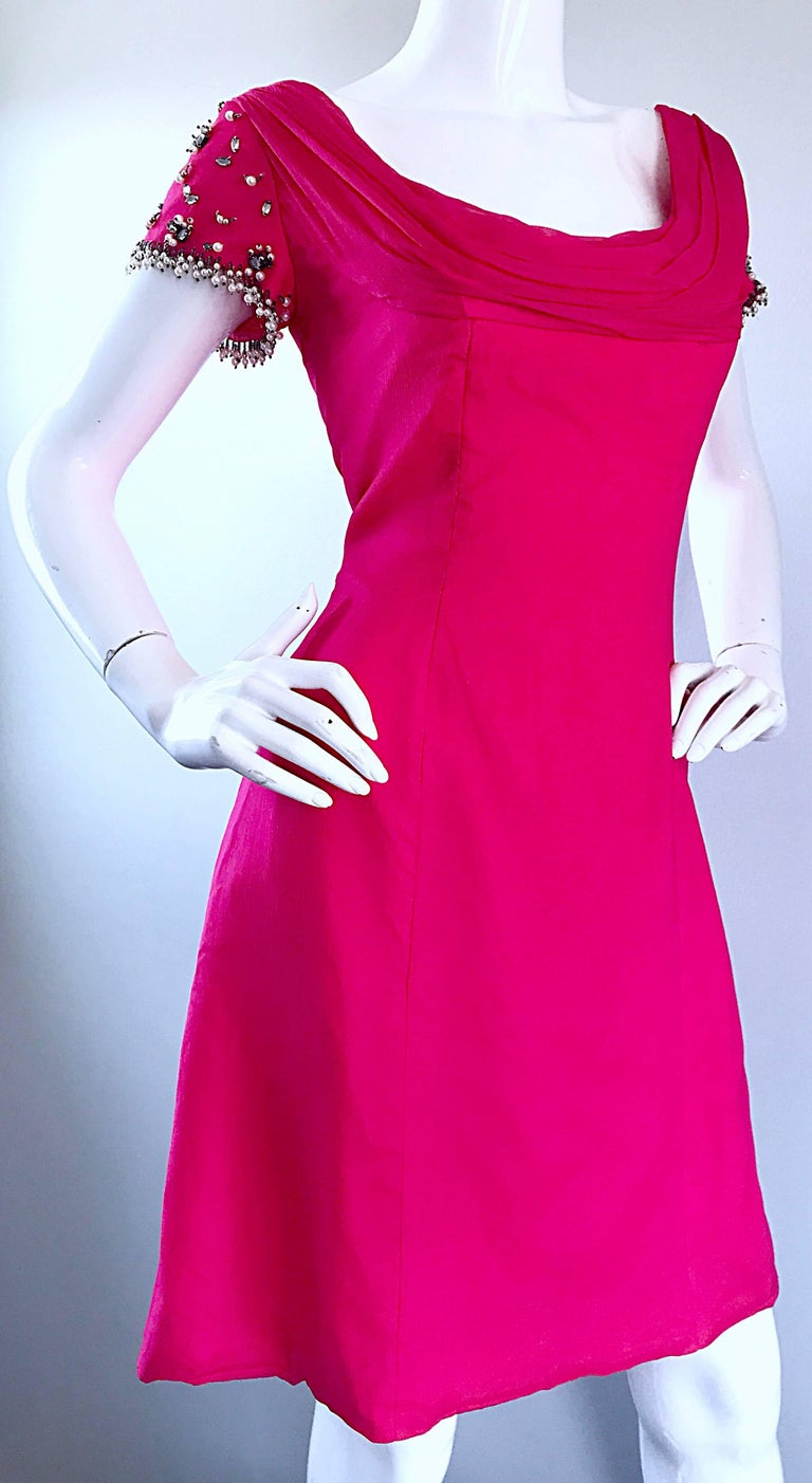 1960s Lilli Diamond Deadstock Hot Pink Fuchsia Vintage 60s A Line Chiffon Dress For Sale 1