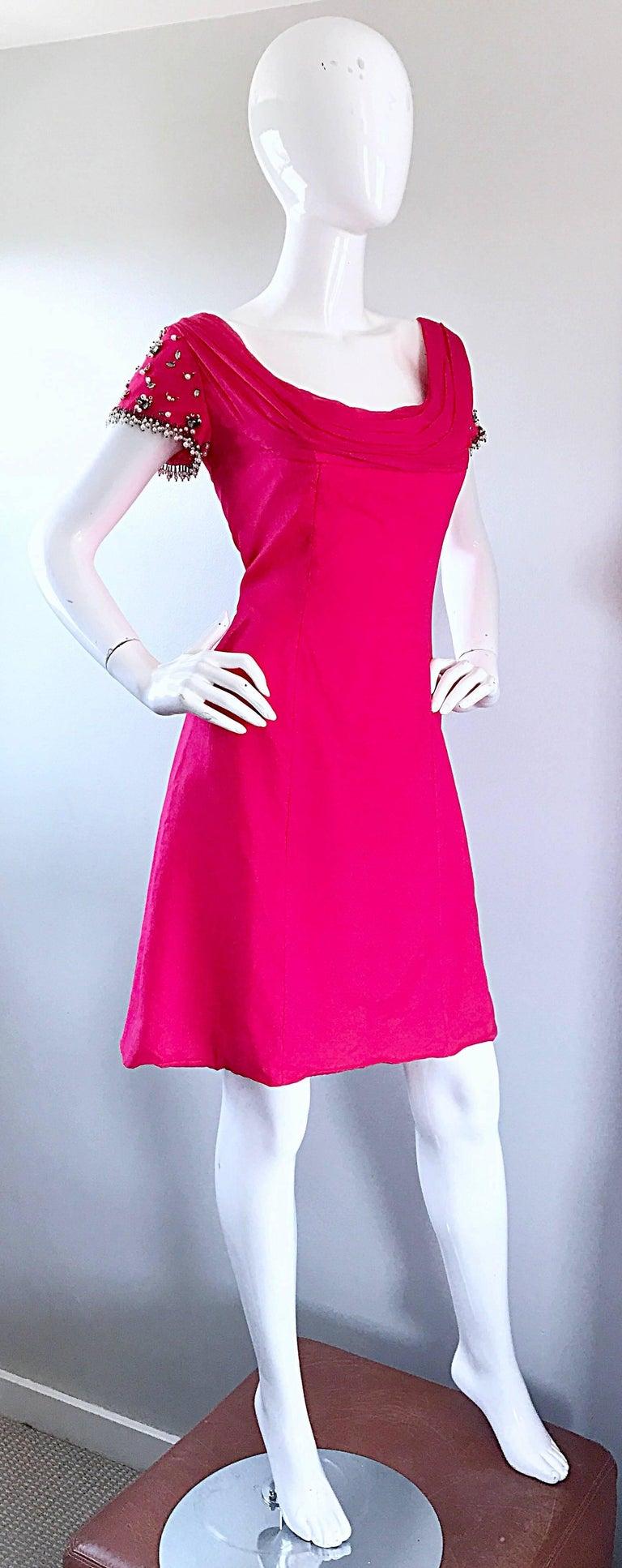 1960s Lilli Diamond Deadstock Hot Pink Fuchsia Vintage 60s A Line Chiffon Dress For Sale 5