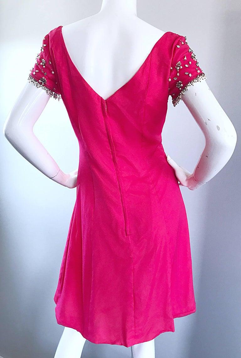 1960s Lilli Diamond Deadstock Hot Pink Fuchsia Vintage 60s A Line Chiffon Dress For Sale 4
