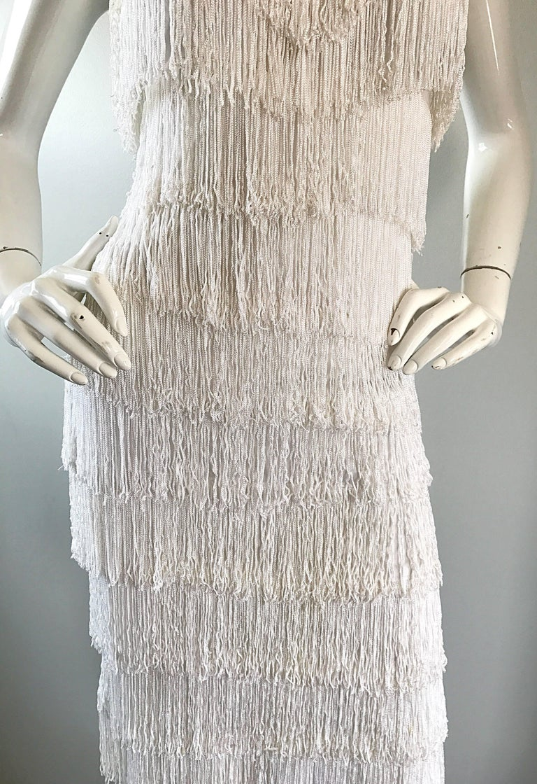 Incredible Vintage 1970s Does 1920s White Fully Fringed Jersey ...
