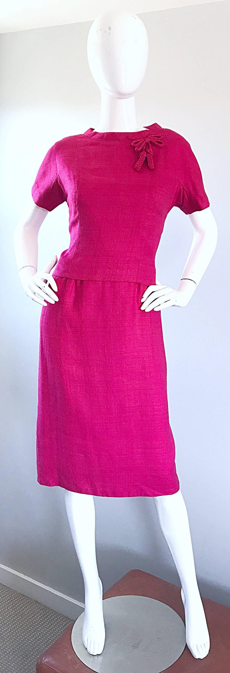 Chic 1960s Demi Couture Raspeberry Pink Silk Shift Dress and Top Vintage 60s Set 2