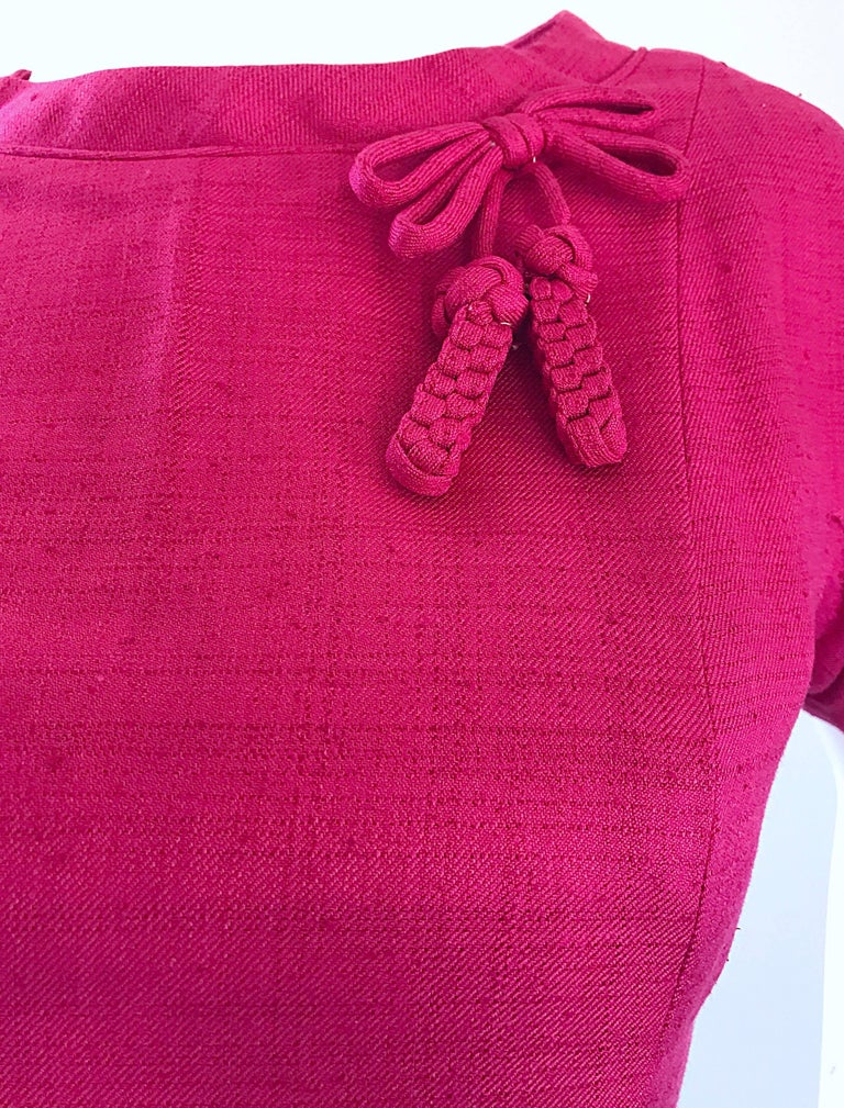 Chic 1960s Demi Couture Raspeberry Pink Silk Shift Dress and Top Vintage 60s Set 3
